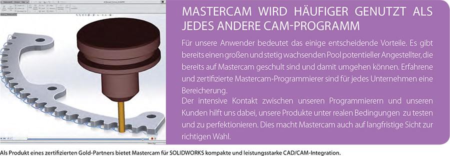 Als Produkt eines zertifizierten Gold-Partners bietet Mastercam für SOLIDWORKS kompakte und leistungsstarke CAD/CAM-Integration.