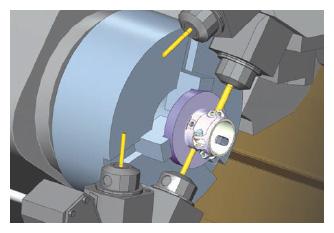 Mit der Simulation kann die Bearbeitung eines Teils in einer virtuellen Maschinenumgebung simuliert werden, bevor es in die Fertigung kommt.